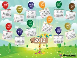 2012 vector calendar by rafiqelmansy