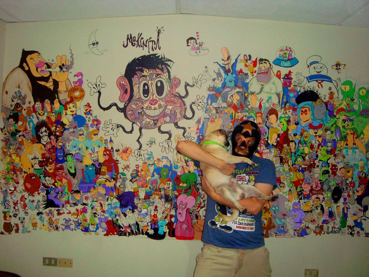 me mural and pug by Makinita