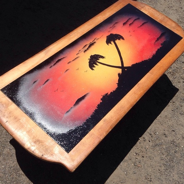 a day in paradise - coffee table - spray paint artkyleskrafts