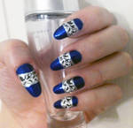 Blue with Black and White Stamping