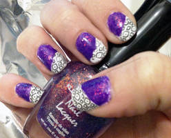 Neon Purple with Black and White Stamping by M-Everham