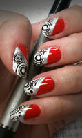 Red with Black + White Stamping