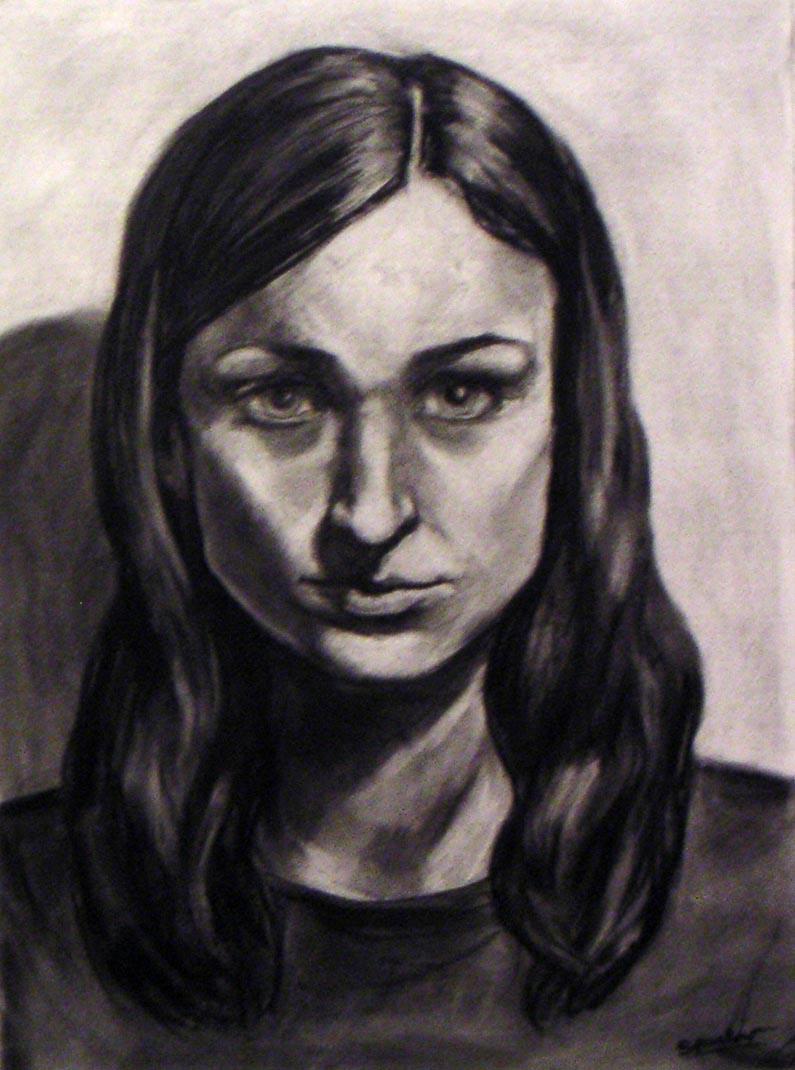 Charcoal Self Portrait by Rontu827
