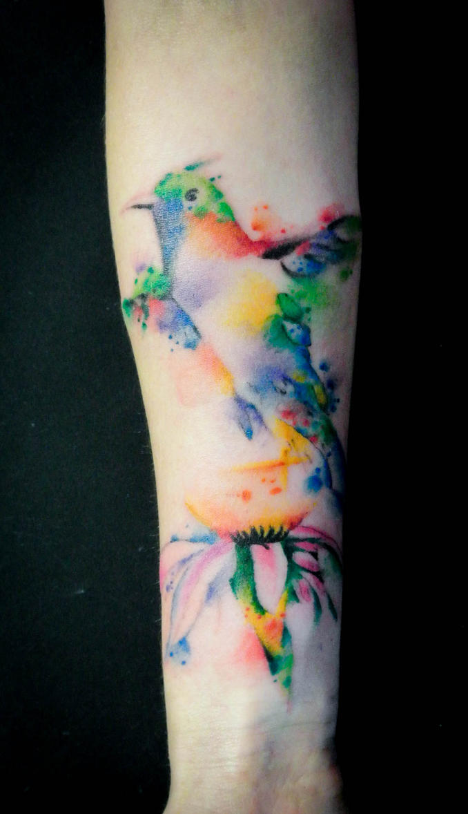 Hummingbird watercolor by Dimed-roll