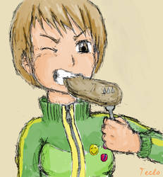 Chie eats a tough steak