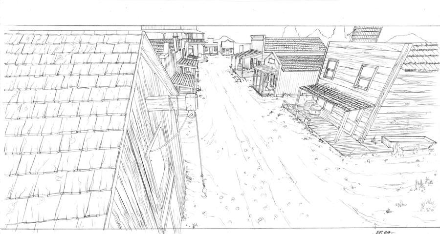 old western town drawingOld Western Town Drawing