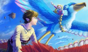 skyward flying link and zelda