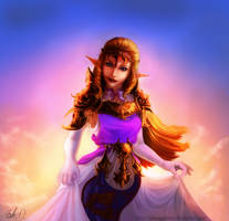 Zelda in sunset by lakengubben