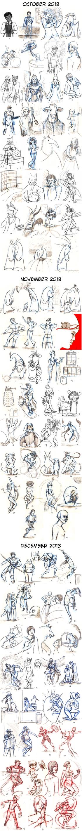 Doodle a Day 2013 - October to December by Super-kip
