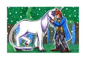 Newt and Niffler meet a Unicorn by Super-kip