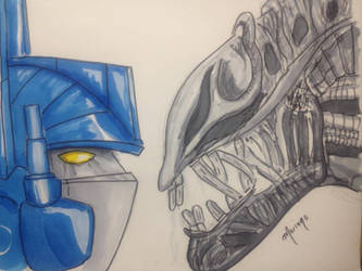 Alien VS Optimus by lifeinblues
