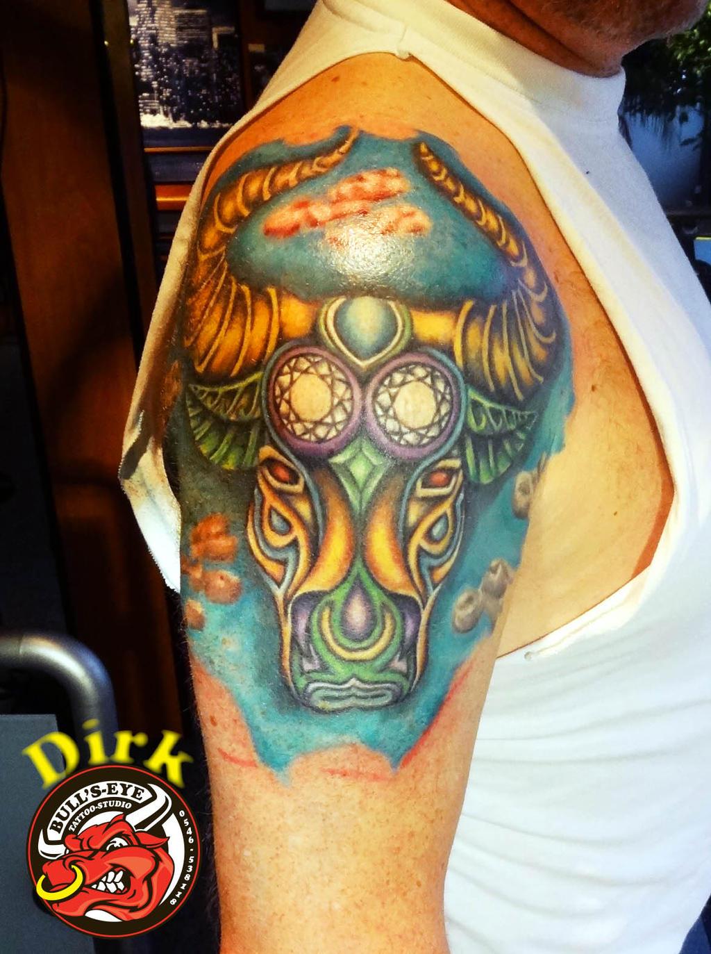 Bull head full colour tattoo by bullseyetattoo on deviantart for Full head tattoo