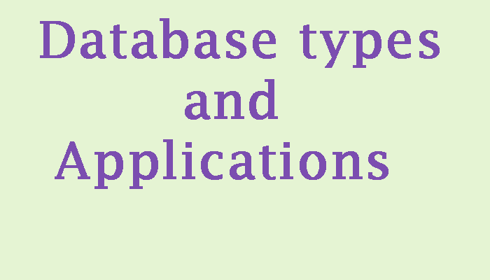 database types and applications