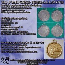 3D Printed Medallions Pre Order by Tank50us