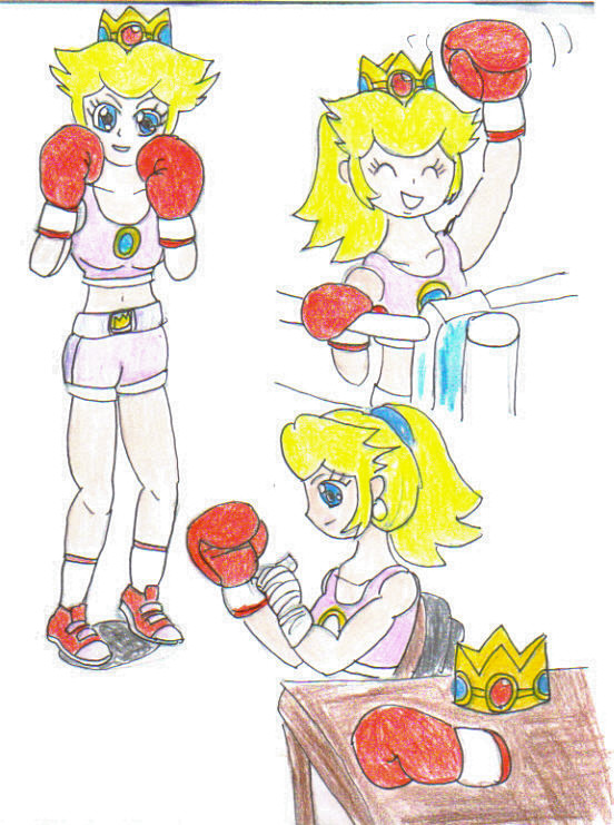 Art trade- boxing Peach collage pt 1 - color by ravenf6