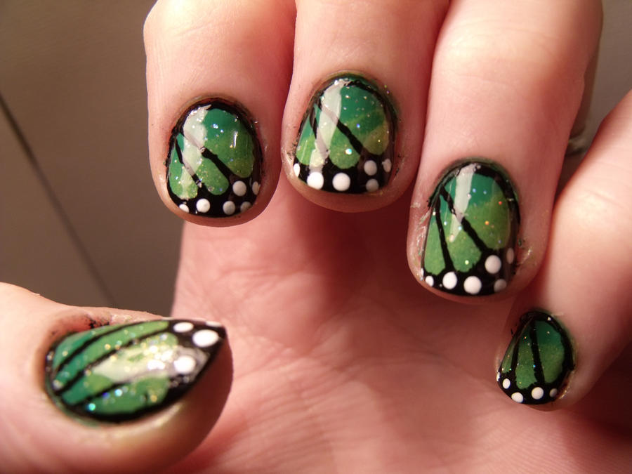 Green gradient monarch nails by kawaii-panic on DeviantArt