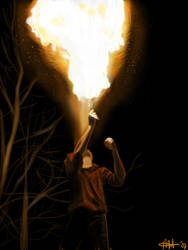 tim doing some firespitting