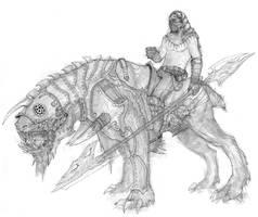 Mounted Warrior concept by AlexBoca