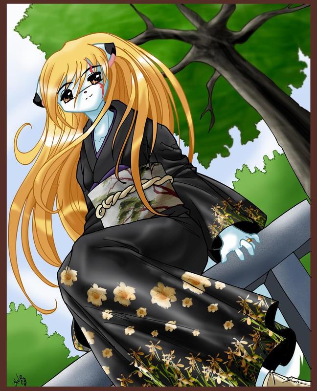 Black kimono kategirl by ChaloDillo