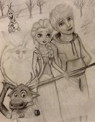 Jack Frost and Elsa and Sven and Olaf and Bunny by Zazzine