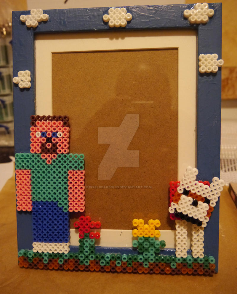 Minecraft With Sam And Tame Wolf Picture Frame By