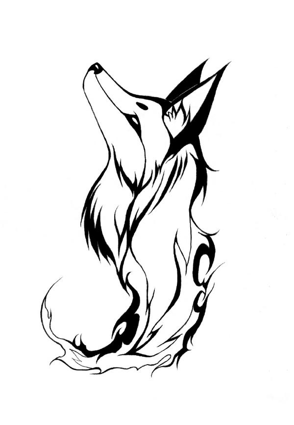 Lineart Wolf Tattoo : Tribal fire fox by avadras on deviantart