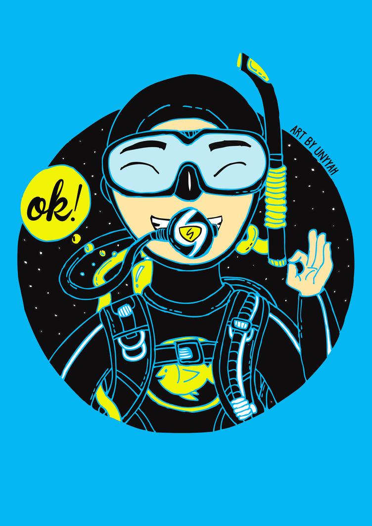 Scuba Diver Illustration by deanyyah