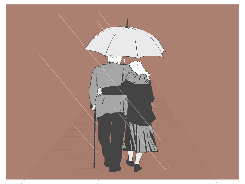 Old Couple in the rain by Djervig on DeviantArt