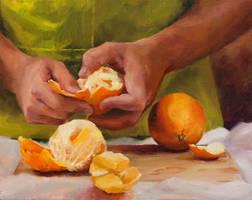 Freshly Peeled Oranges by LaurenWilsonArt