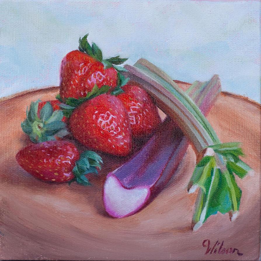 Strawberries and Rhubarb by LaurenWilsonArt