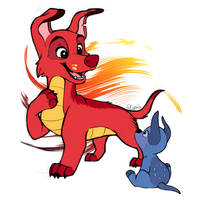 Dogified Mushu and Lucky Cricket