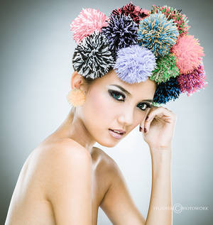 the girl with colorful pompom by felixheru