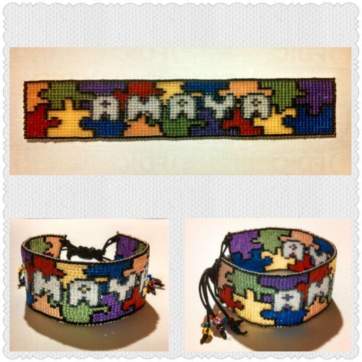 Amaya's Autism Awareness Bracelet by ravenarcana