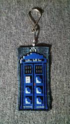 Beaded TARDIS Keychain