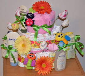 Garden Themed Diaper Cake For Girl