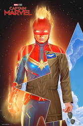 Captain Marvel Illustrated Poster by NickyBarkla