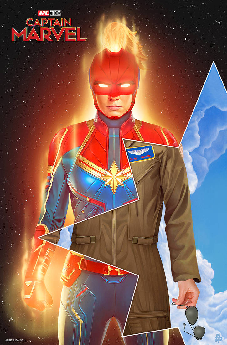 Captain Marvel Illustrated Poster
