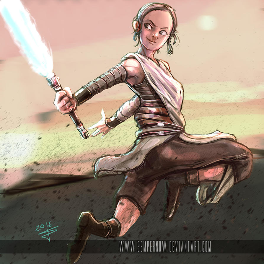 Rey having fun (cartoony version) by sempernow