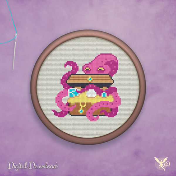 Octopus Treasure - cross stitch pattern by StoneDragonWorkshop