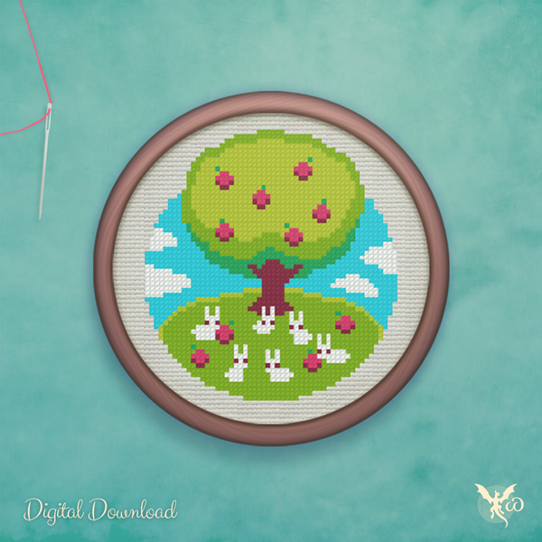 Apple Tree Rabbits - cross stitch pattern by StoneDragonWorkshop