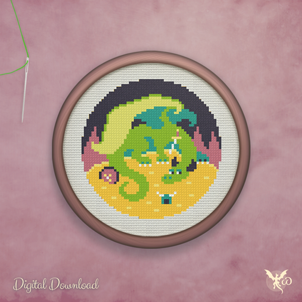 Treasure Dragon - cross stitch pattern by StoneDragonWorkshop