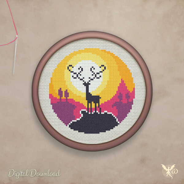 Sunset Deer Mountain - cross stitch pattern by StoneDragonWorkshop