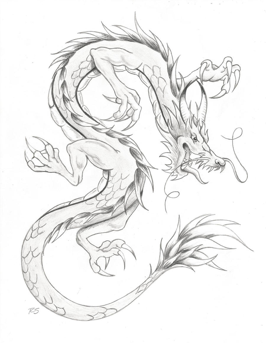 chinese dragon drawing easy - photo #24