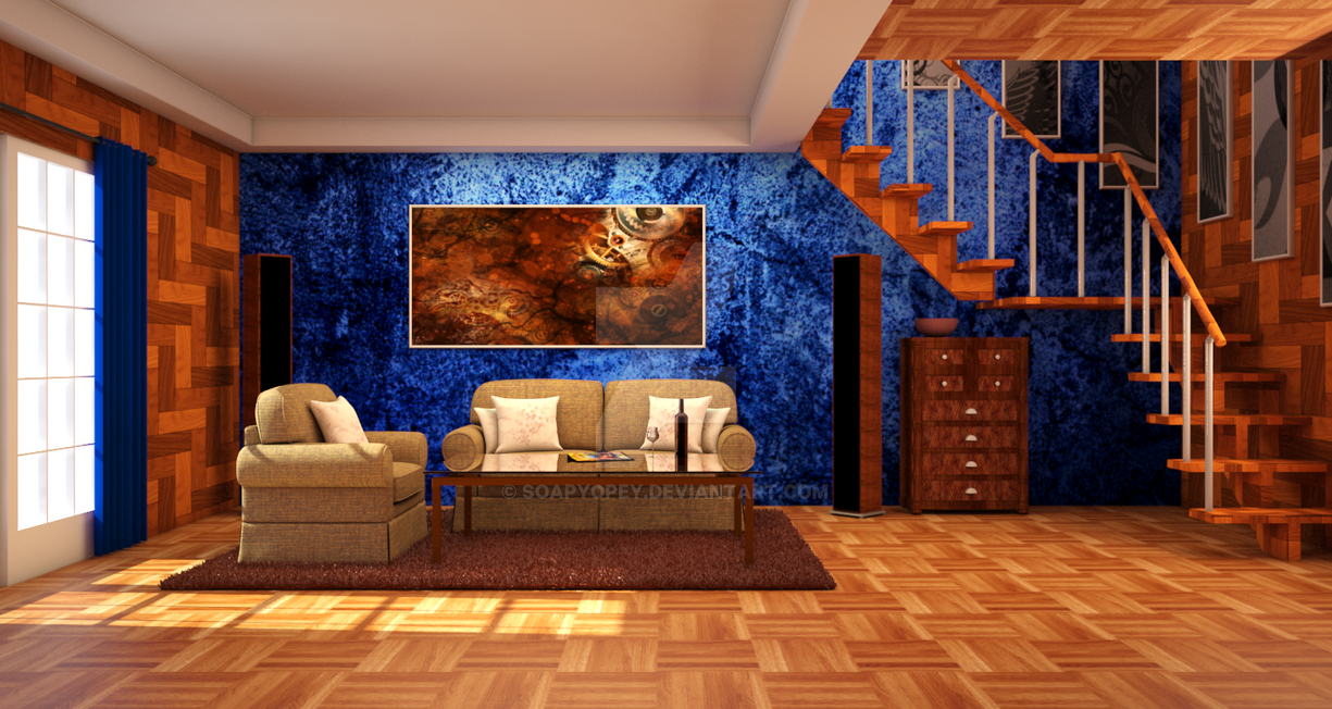 Brown And Blue Living Room By SoapyOpey
