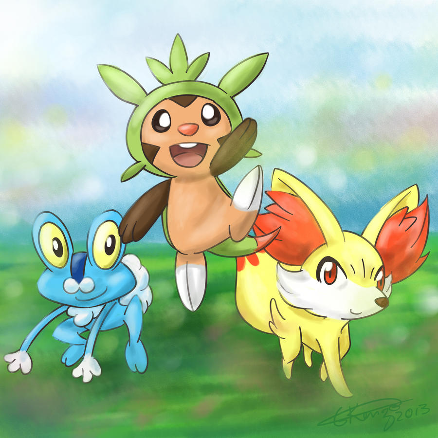 chespin froakie and fennekin by gkenzo on deviantart