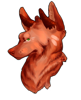 red wolf with horns