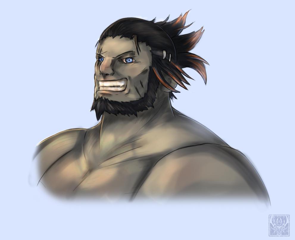 Roegadyn /grin by DragonicHeaven