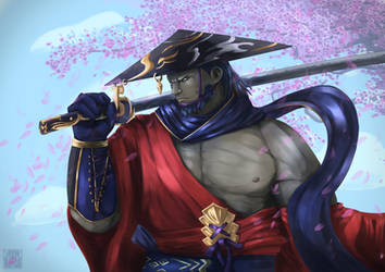 FFXIV SB: Roegadyn Samurai by DragonicHeaven