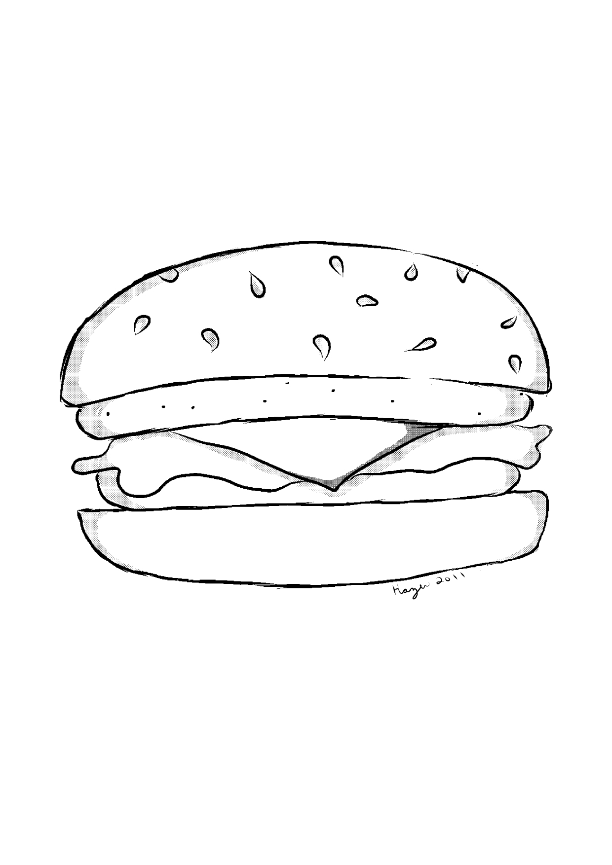 Cheeseburger Line Art By Hazuhazuheavn On Deviantart Cheeseburger Coloring Page