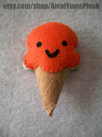 Orange Sherbet Ice Cream Cone Hair Clip by Hazuhazuheavn